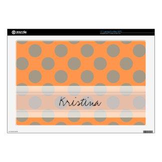 Monogram Orange Gray Chic Cute Polka Dot Pattern Laptop Decal