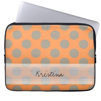 Monogram Orange Gray Chic Cute Polka Dot Pattern Laptop Sleeves