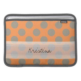 Monogram Orange Gray Chic Cute Polka Dot Pattern MacBook Sleeve