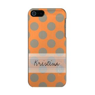Monogram Orange Gray Chic Cute Polka Dot Pattern Metallic Phone Case For iPhone SE/5/5s