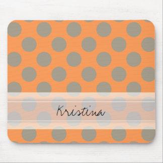 Monogram Orange Gray Chic Cute Polka Dot Pattern Mouse Pad
