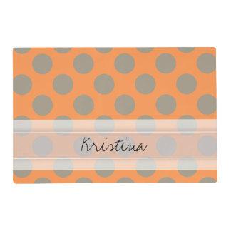 Monogram Orange Gray Chic Cute Polka Dot Pattern Placemat
