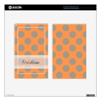 Monogram Orange Gray Chic Cute Polka Dot Pattern Skin For Kindle Fire