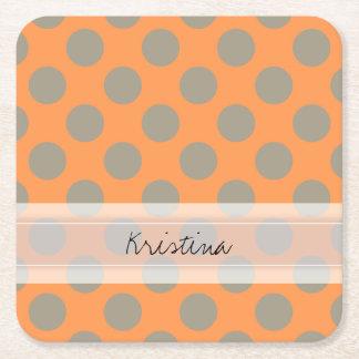 Monogram Orange Gray Chic Cute Polka Dot Pattern Square Paper Coaster