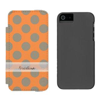 Monogram Orange Gray Chic Cute Polka Dot Pattern Wallet Case For iPhone SE/5/5s