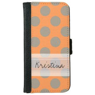 Monogram Orange Gray Chic Cute Polka Dot Pattern Wallet Phone Case For iPhone 6/6s