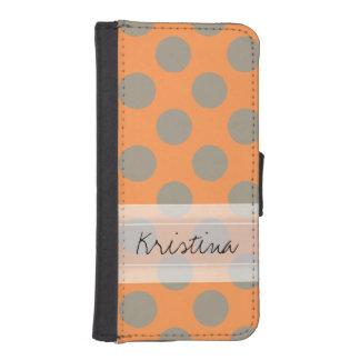 Monogram Orange Gray Chic Cute Polka Dot Pattern Wallet Phone Case For iPhone SE/5/5s