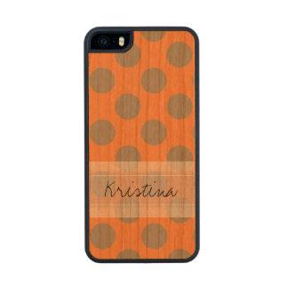 Monogram Orange Gray Chic Cute Polka Dot Pattern Wood iPhone SE/5/5s Case