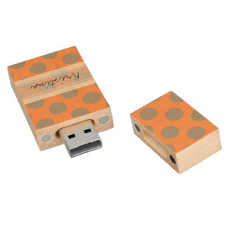 Monogram Orange Gray Chic Cute Polka Dot Pattern Wood USB Flash Drive