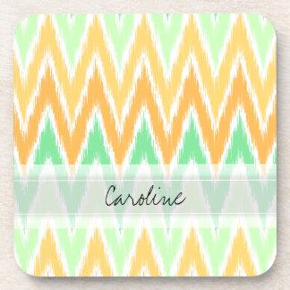 Monogram Orange Green Ikat Chevron Zig Zag Pattern Coaster