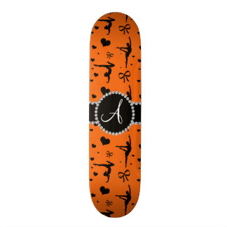 Monogram orange gymnastics hearts bows custom skateboard