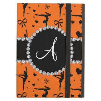 Monogram orange gymnastics hearts bows case for iPad air
