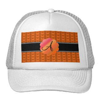 Monogram orange hearts and stripes hats