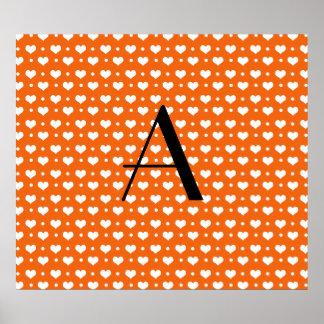 Monogram orange hearts polka dots print