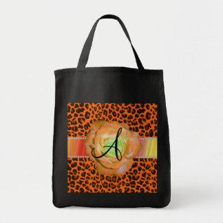Monogram orange leopard rose canvas bags