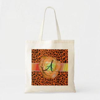 Monogram orange leopard rose canvas bag
