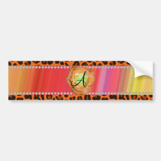 Monogram orange leopard rose bumper stickers