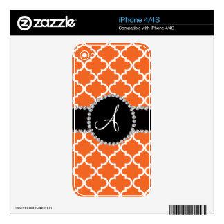 Monogram orange moroccan quatrefoil iPhone 4S decal