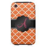 Monogram Orange moroccan Tough iPhone 3 Cases