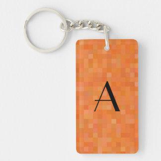 Monogram orange mosaic squares Double-Sided rectangular acrylic keychain