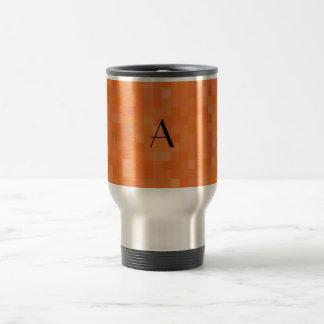 Monogram orange mosaic squares travel mug