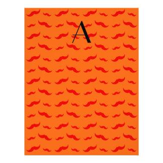 """Monogram orange mustache pattern 8.5"""" x 11"""" flyer"""