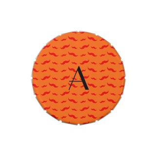Monogram orange mustache pattern jelly belly tin
