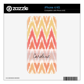 Monogram Orange Ombre Ikat Chevron Zig Zag Pattern Decal For The iPhone 4S
