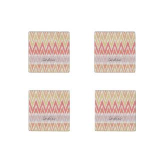 Monogram Orange Ombre Ikat Chevron Zig Zag Pattern Stone Magnet