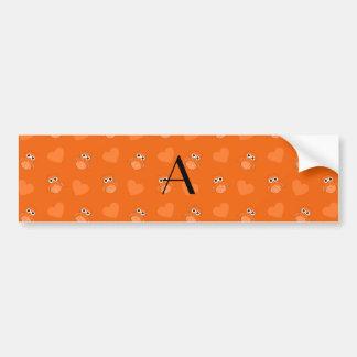 Monogram orange owls and hearts bumper stickers