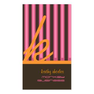 Monogram orange/pink/chocolate stripes business card