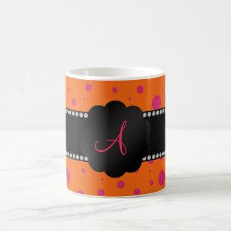Monogram orange pink polka dots coffee mug