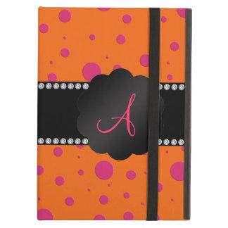 Monogram orange pink polka dots iPad folio cases