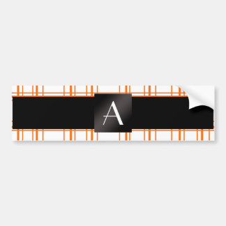 Monogram orange plaid bumper stickers