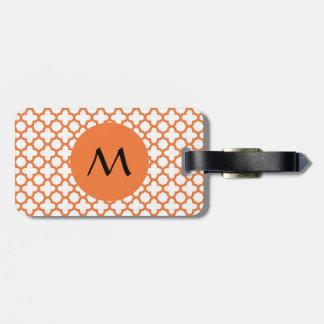 Monogram Orange Quatrefoil Pattern Travel Bag Tag
