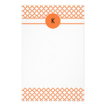 Monogram Orange Quatrefoil Pattern Stationery