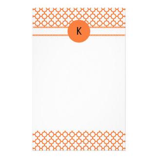Monogram Orange Quatrefoil Pattern Stationery Paper