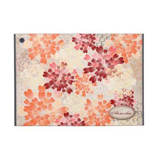 Monogram Orange Red & Cream Flowers Retro iPad Mini Cover