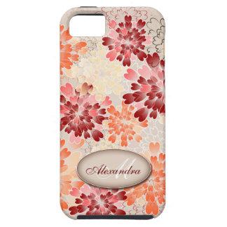 Monogram Orange Red & Cream Flowers Retro iPhone SE/5/5s Case