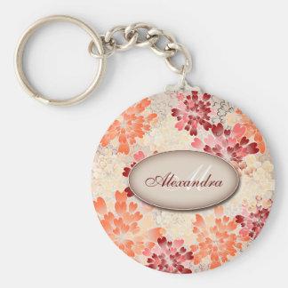 Monogram Orange Red & Cream Flowers Retro Keychain