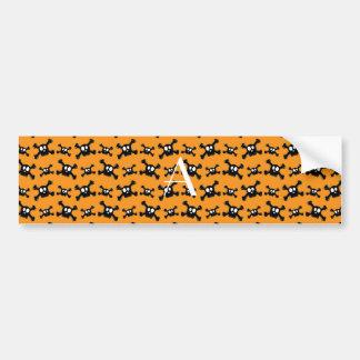 Monogram orange skulls pattern bumper sticker
