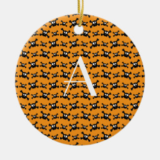 Monogram orange skulls pattern christmas tree ornament
