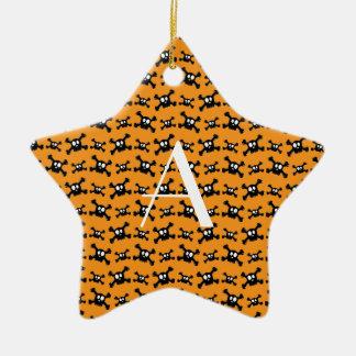 Monogram orange skulls pattern christmas ornament