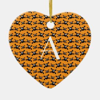 Monogram orange skulls pattern ornaments