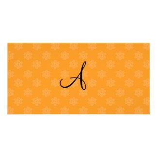 Monogram orange snowflakes picture card