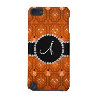 Monogram orange snowman trellis pattern iPod touch (5th generation) cover