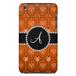 Monogram orange snowman trellis pattern barely there iPod cases