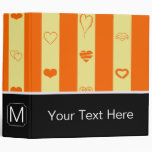 Monogram Orange Stripe Modern Heart Pattern Binder