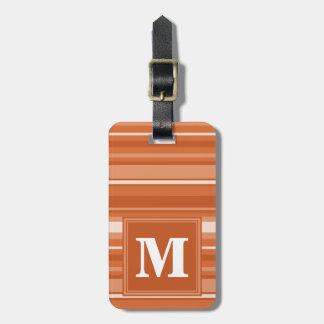 Monogram orange stripes luggage tag