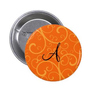 Monogram orange swirls 2 inch round button